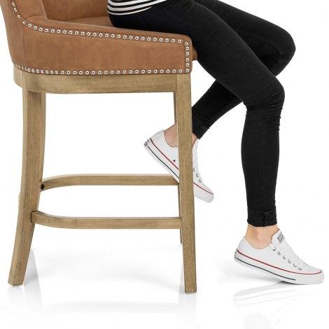 Knightsbridge Oak Stool Brown Leather Seat Image