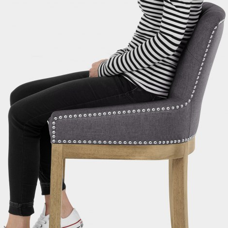 Knightsbridge Oak Stool Charcoal Fabric Seat Image