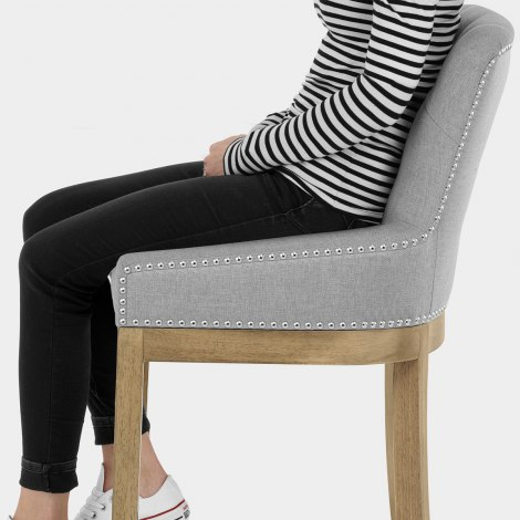 Knightsbridge Oak Stool Grey Fabric Seat Image