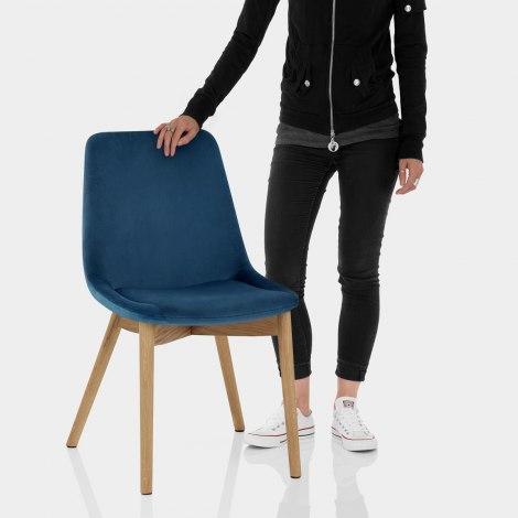 Kobe Dining Chair Oak & Blue Velvet Features Image