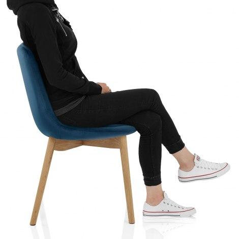 Kobe Dining Chair Oak & Blue Velvet Seat Image