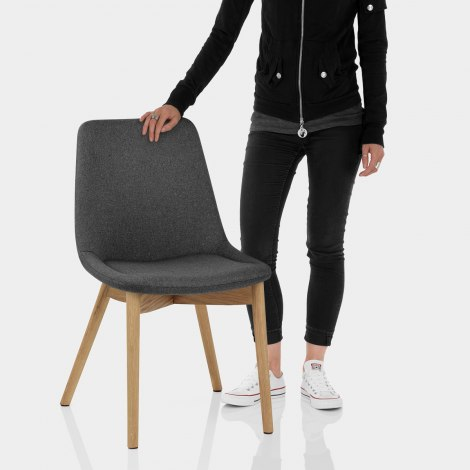 Kobe Dining Chair Oak & Charcoal Features Image