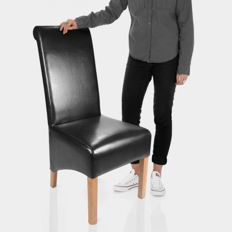 Krista Dining Chair Black Leather Features Image