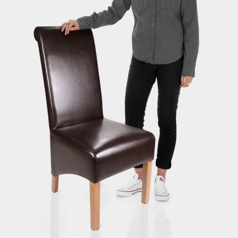 Krista Dining Chair Brown Leather Features Image