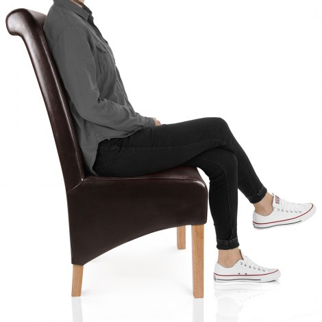 Krista Dining Chair Brown Leather Frame Image