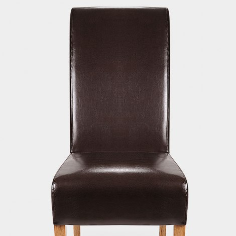 Krista Dining Chair Brown Leather Seat Image