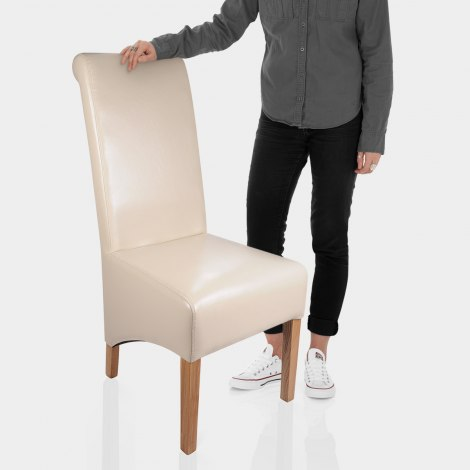 Krista Dining Chair Cream Leather Features Image