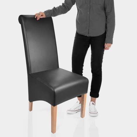Krista Madras Leather Dining Chair Black Features Image