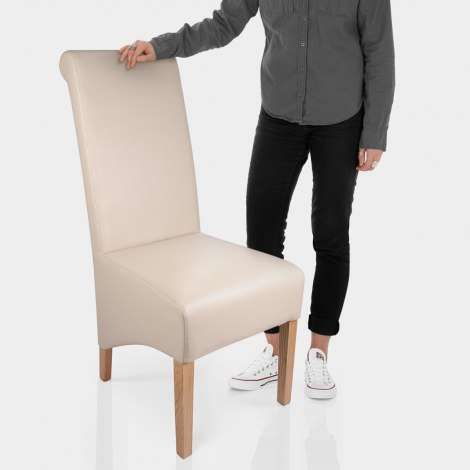 Krista Madras Leather Dining Chair Cream Features Image