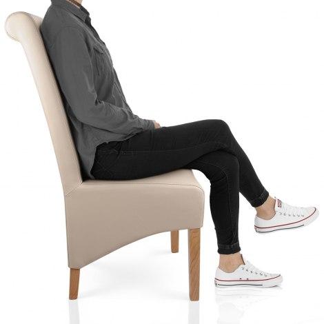 Krista Madras Leather Dining Chair Cream Seat Image