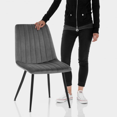 Lagos Dining Chair Grey Velvet Features Image