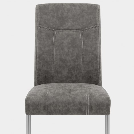 Lancaster Dining Chair Grey Leather Seat Image