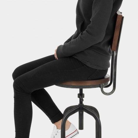 Lathe Wooden Stool Gunmetal Seat Image