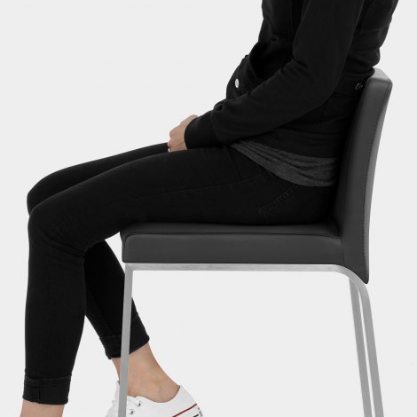 Leah Brushed Real Leather Stool Black Seat Image