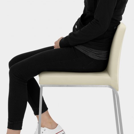 Leah Brushed Real Leather Stool Cream Seat Image
