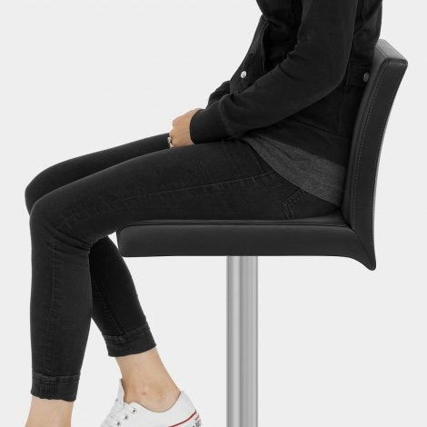 Lexi Brushed Steel Stool Black Seat Image