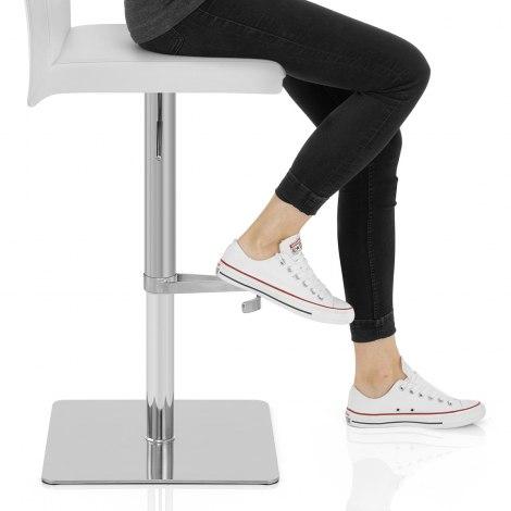 Lexi Brushed Steel Stool White Seat Image