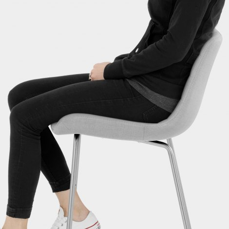 Lido Brushed Stool Light Grey Fabric Seat Image