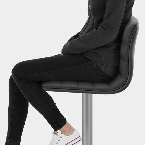 Linear Brushed Steel Bar Stool Black Seat Image
