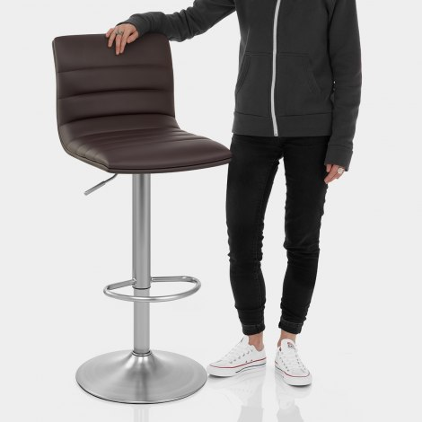 Linear Brushed Steel Bar Stool Brown Features Image