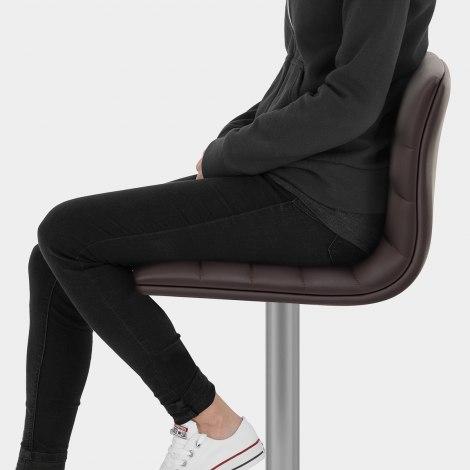 Linear Brushed Steel Bar Stool Brown Seat Image