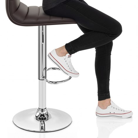 Linear Bar Stool Brown Seat Image