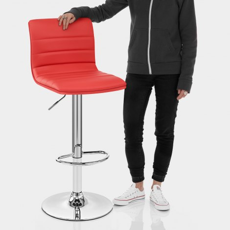 Linear Bar Stool Red Features Image