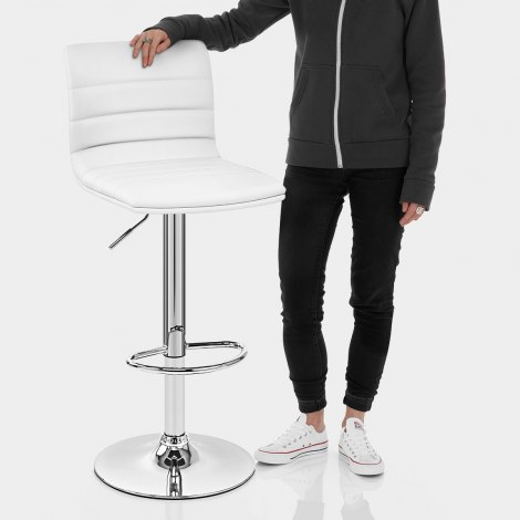 Linear Bar Stool White Features Image