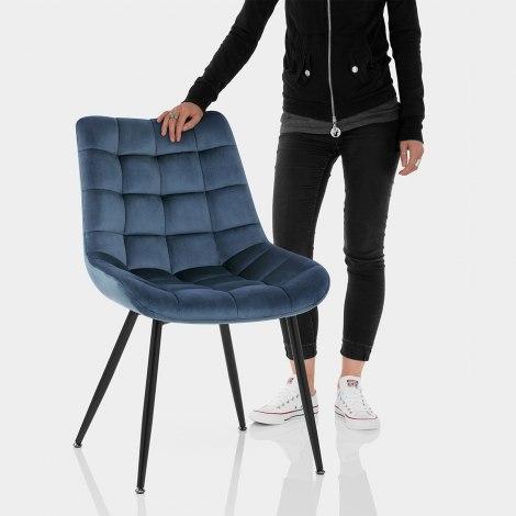 Lisbon Dining Chair Blue Velvet Features Image