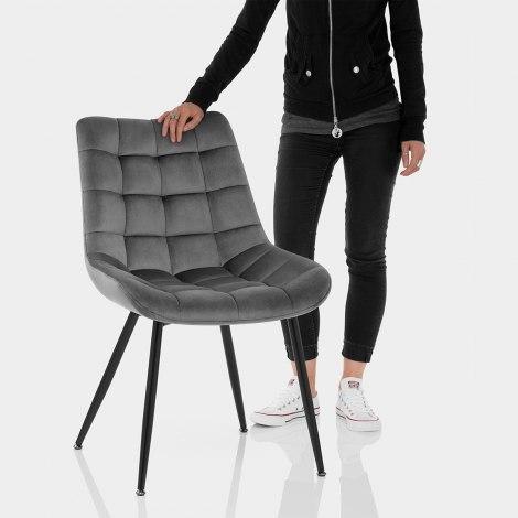 Lisbon Dining Chair Grey Velvet Features Image
