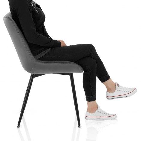 Lisbon Dining Chair Grey Velvet Frame Image