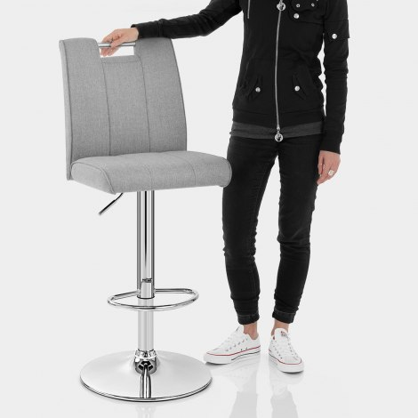 Loco Bar Stool Grey Fabric Features Image