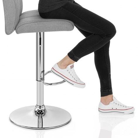 Loco Bar Stool Grey Fabric Seat Image