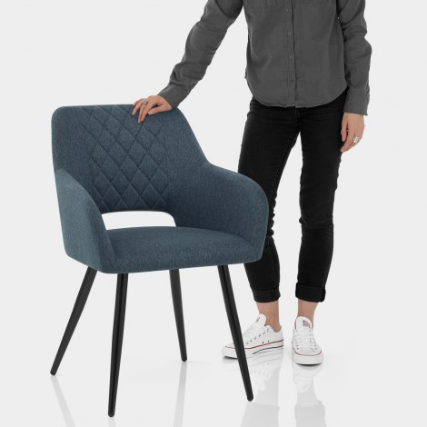 Lopez Dining Chair Blue Fabric Features Image