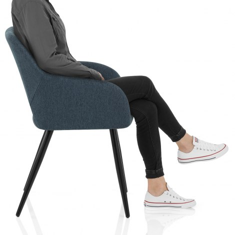 Lopez Dining Chair Blue Fabric Frame Image
