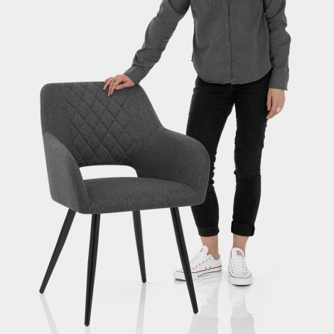 Lopez Dining Chair Charcoal Fabric Features Image