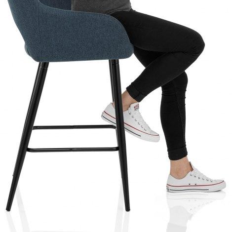 Lopez Bar Stool Blue Fabric Seat Image