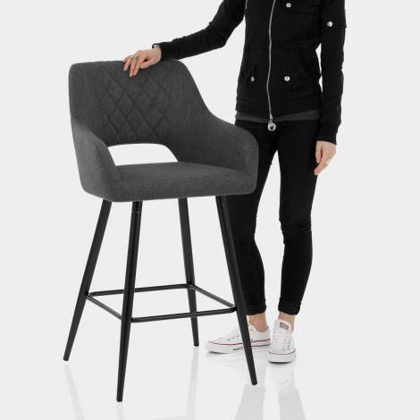 Lopez Bar Stool Charcoal Fabric Features Image