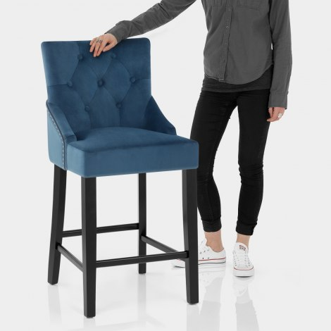 Loxley Stool Blue Velvet Features Image