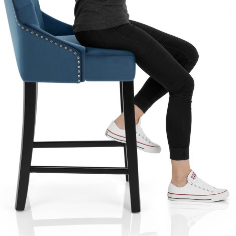 Loxley Stool Blue Velvet Seat Image