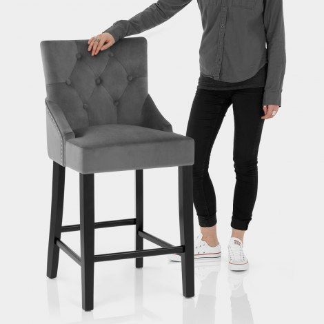 Loxley Stool Grey Velvet Features Image