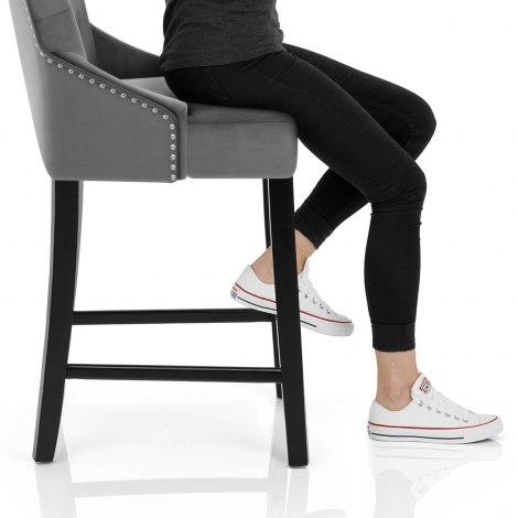 Loxley Stool Grey Velvet Seat Image