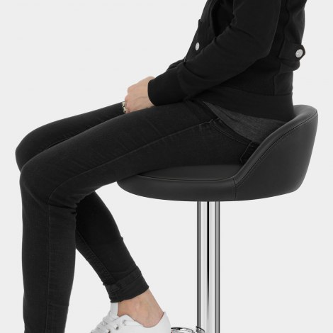 Lulu Real Leather Stool Black Seat Image