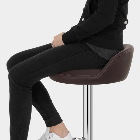 Lulu Real Leather Stool Brown Seat Image
