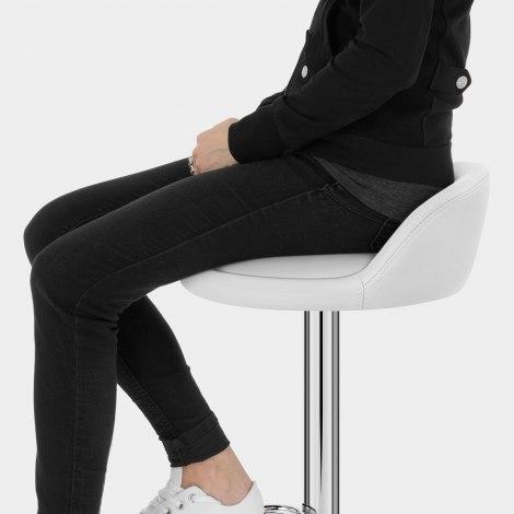 Lulu Real Leather Stool White Seat Image