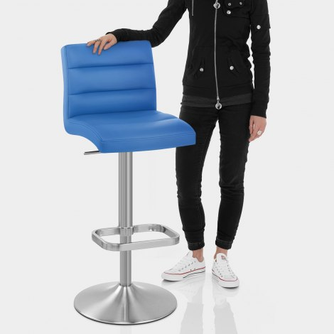 Lush Brushed Steel Bar Stool Blue Features Image
