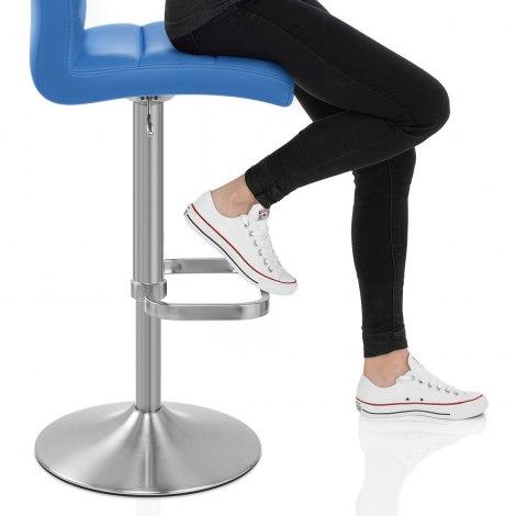 Lush Brushed Steel Bar Stool Blue Seat Image