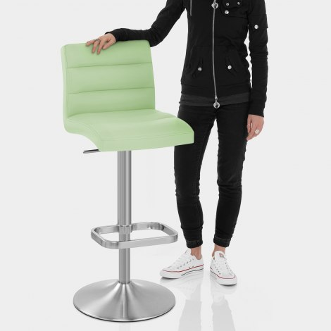 Lush Brushed Steel Bar Stool Green Features Image
