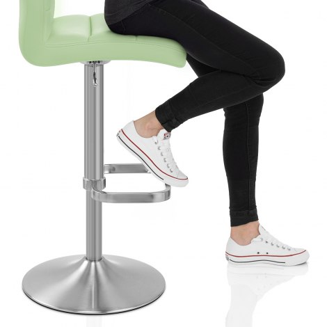 Lush Brushed Steel Bar Stool Green Seat Image