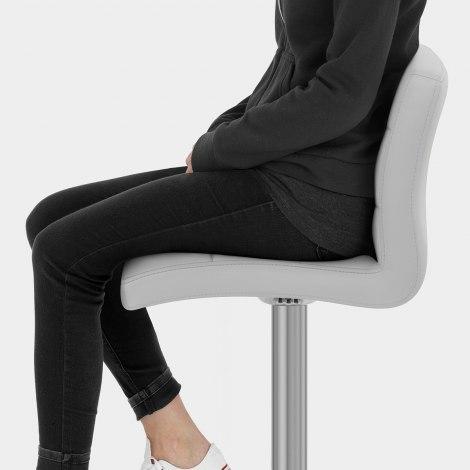 Lush Brushed Steel Bar Stool Grey Seat Image